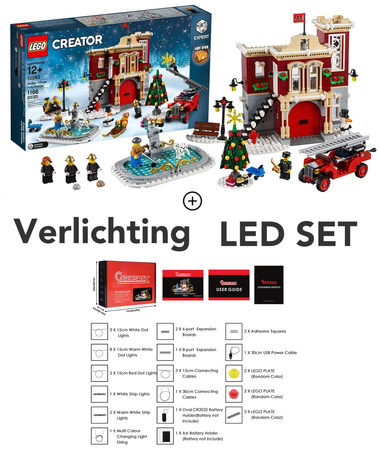 LEGO 10263 Winter Village Fire Station + LED Verlichting