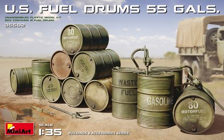 MiniArt U.S. Fuel Drums 55 Gals. 1:35