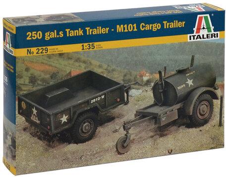 Italeri 250 gal.s Tank Trailer - M101 Cargo Trailer 1:35