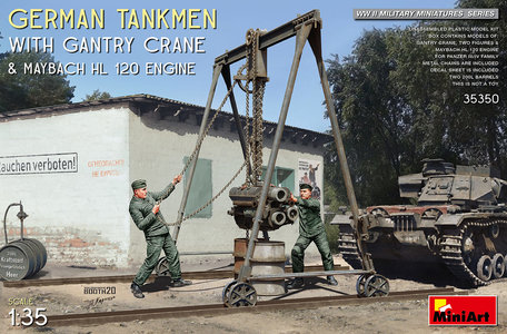 MiniArt German Tankmen With Gantry Crane & Maybach HL 120 Engine 1:35