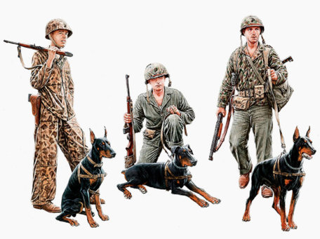 Master Box Dogs in Service in the US Marine Corps 1:35