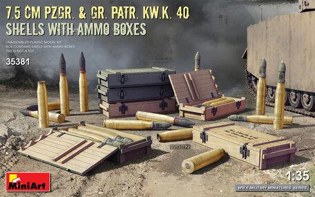 MiniArt 7.5 Cm Pzgr. & Gr. Patr. Kw.K. 40 Shells With Ammo Boxes 1:35