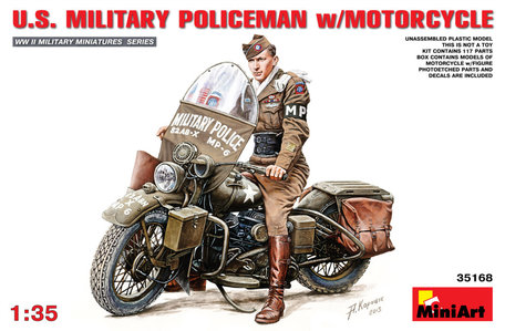 MiniArt U.S. Military Policeman with Motorcycle 1:35