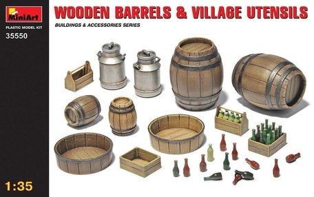 MiniArt Wooden Barrels and Village Utensils 1:35