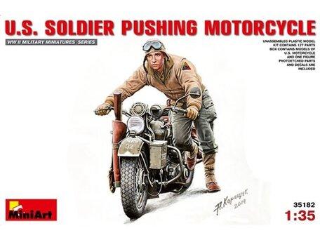MiniArt U.S. Soldier Pushing Motorcycle 1:35