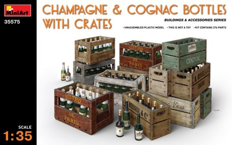 MiniArt Champagne & Cognac Bottles with Crates 1:35