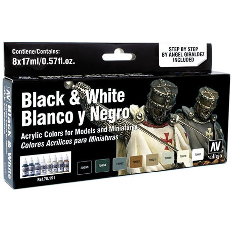Vallejo Paint Set: Black & White (70.151)