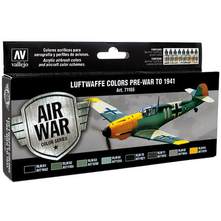 Vallejo Paint Set: Luftwaffe Colors Pre-War to 1941 (71.165)