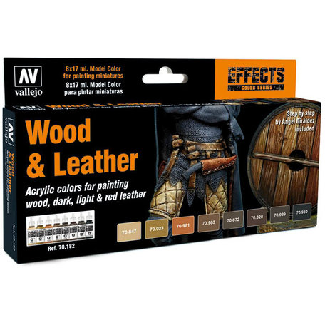 Vallejo Paint Set: Wood & Leather (70.182)